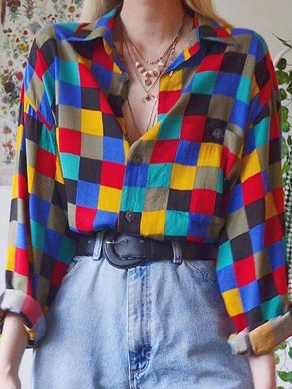 Casual Collared Color Block Long Sleeve Plaid Shirt - Luckinchic