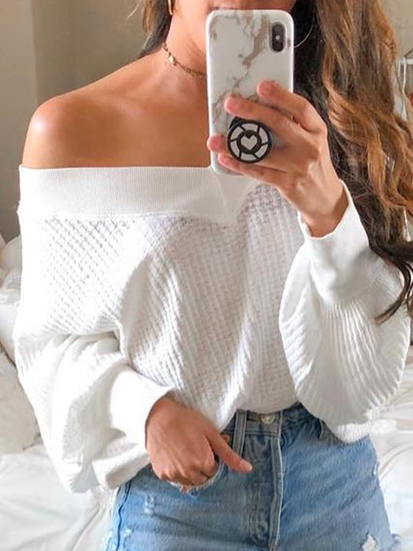 Casual V Neck Solid Long Sleeve Sweater - LuckinChic.com