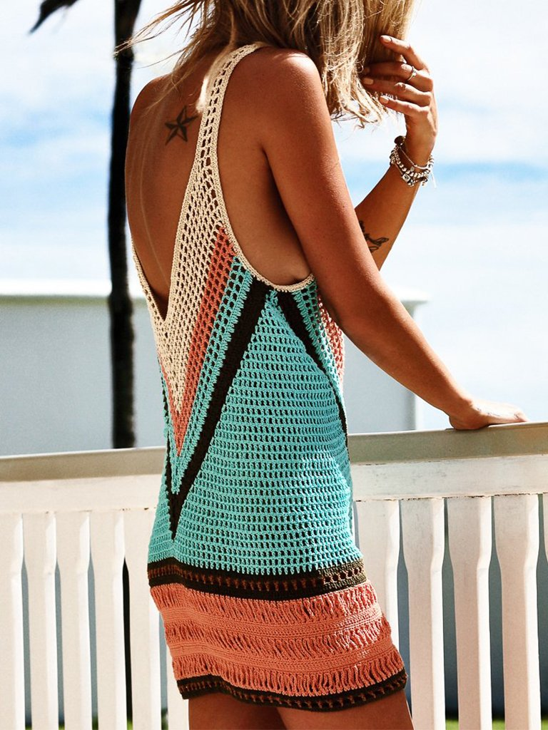 Bohemian Knitted Beachwear Mini Dress Cover Ups