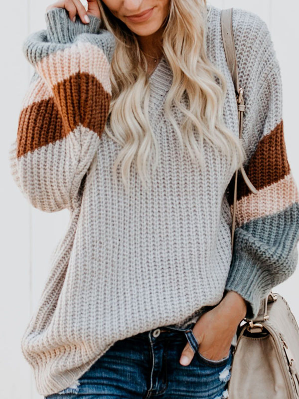 V-Neck Puff Sleeve Sweater