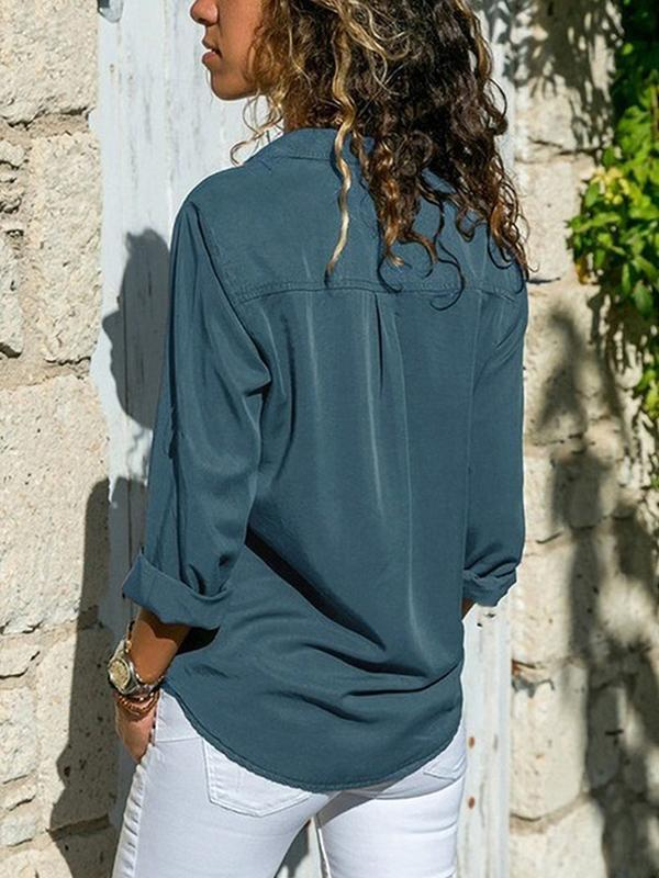 Casual Solid V Neck Long Sleeve Shirt - Luckinchic - LuckinChic.com