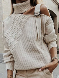Casual Single Shoulder Collar Long Sleeve Sweater - Luckinchic - LuckinChic.com
