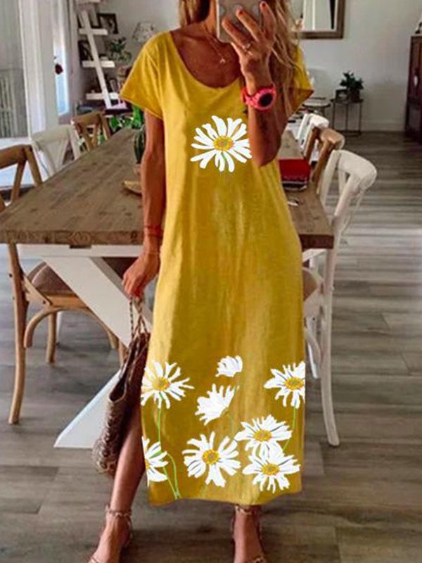Summer Short Sleeve Daisy Print Slit Dress - Luckinchic