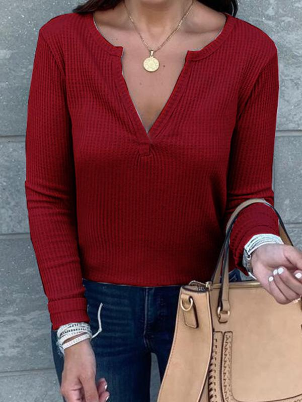 Casual Solid Cotton V Neck Long Sleeve Blouses