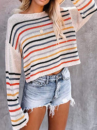 Casual Round Neck Striped Print Loose Pullover Long Sleeves Knit Sweater - Luckinchic