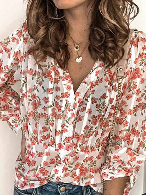 Casual Floral Printed Button Long Sleeve Blouse - Luckinchic