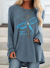 Casual Round Neck Dragonfly Printed Loose Long Sleeve Top - Luckinchic