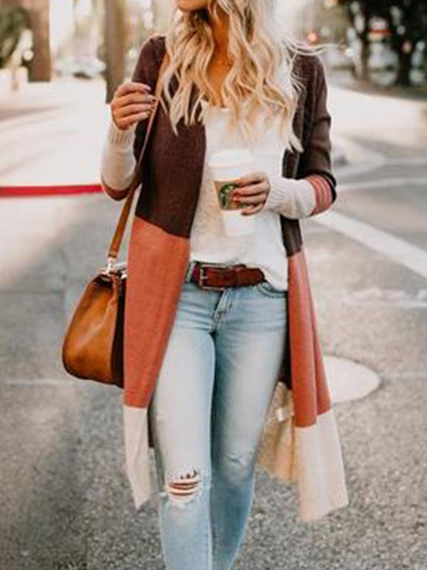 Fashion Color Block Long Sleeve Cardigans - LuckinChic.com