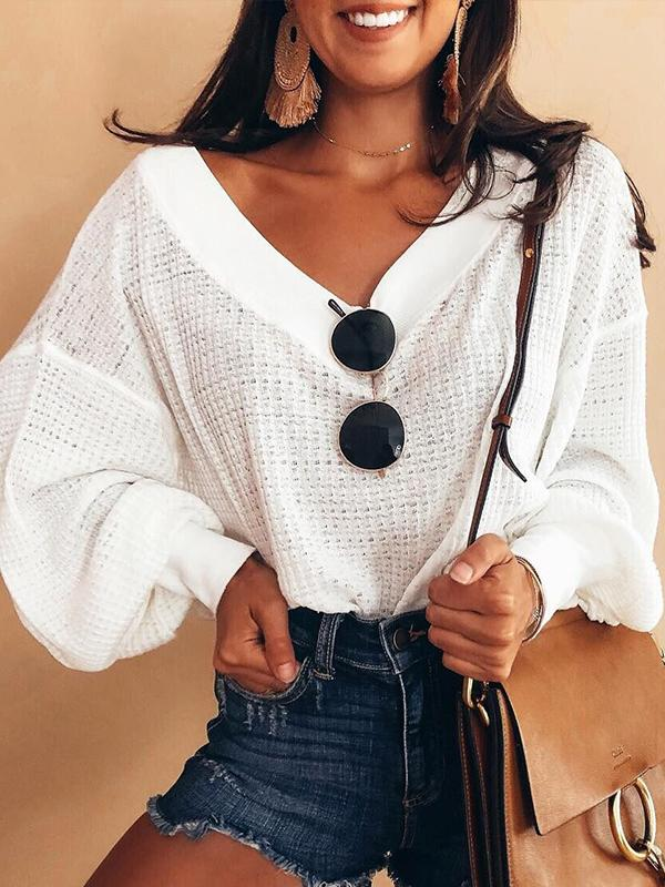Casual V Neck Solid Long Sleeve Sweater