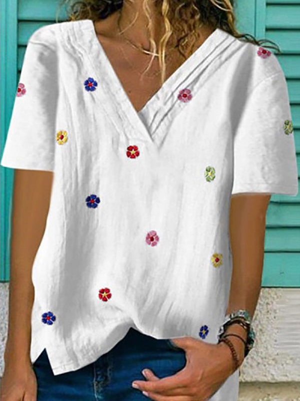 Casual V Neck Embroidered Fashion Short Sleeve T-Shirt - Luckinchic