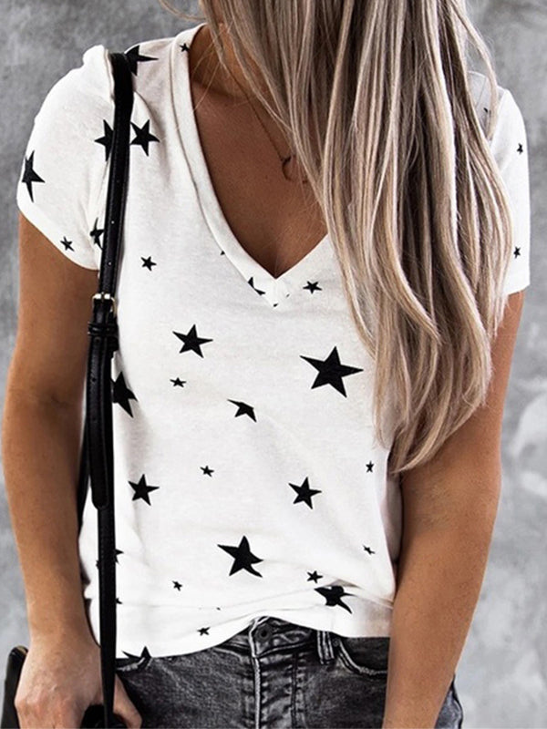 Casual V Neck Star Print Short Sleeve T-Shirt - Luckinchic