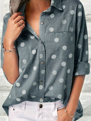 Clearance - Polka Dot Print Turndown Shirt Collar Blouse - Luckinchic - LuckinChic.com