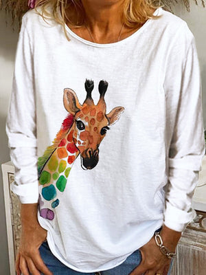 Casual Round Neck Color Giraffe Printed Long Sleeve T-Shirt Top - Luckinchic