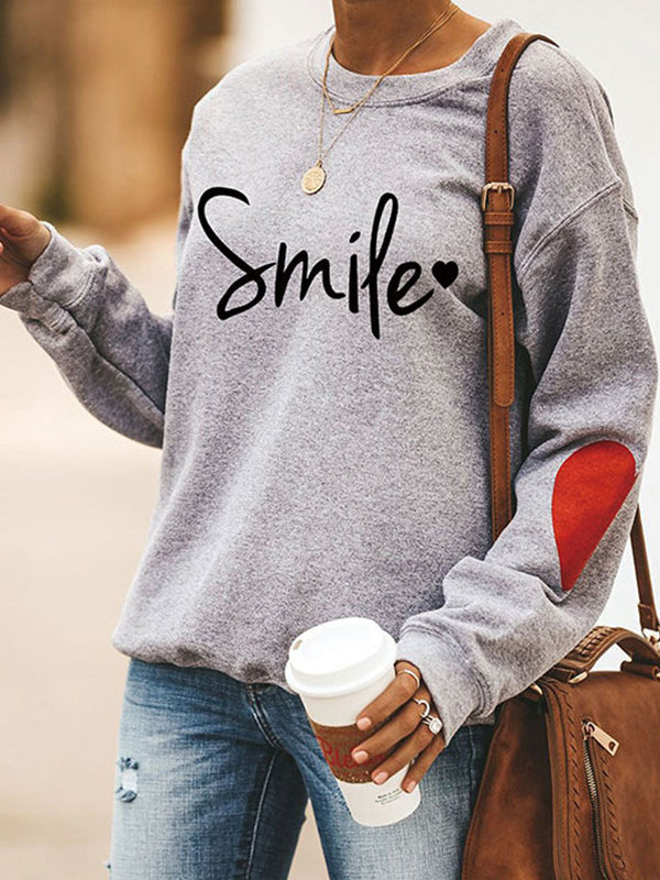 Casual Round Neck Letter Print Long Sleeve Pullover Sweatshirt Top - Luckinchic