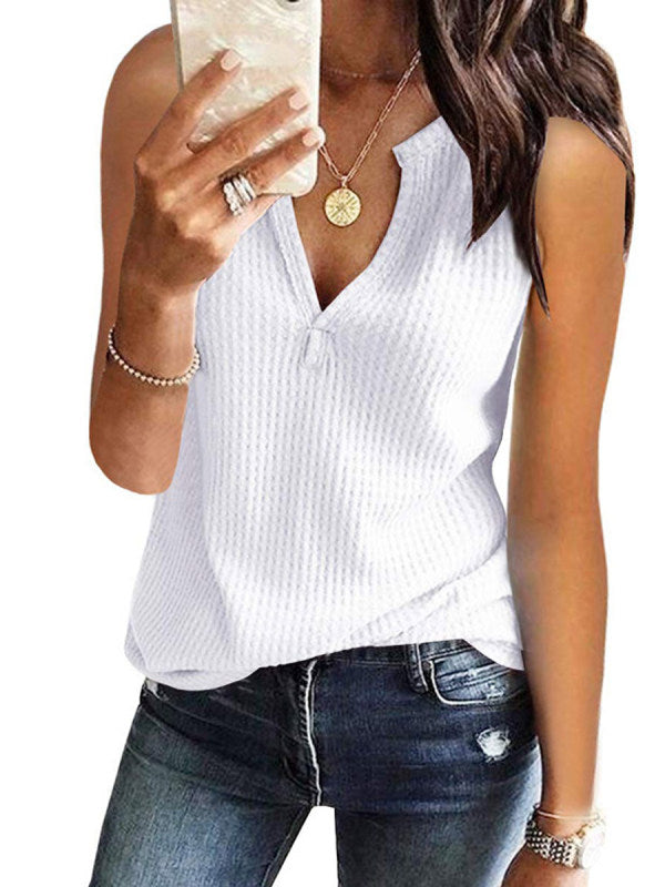 V Neck Sleeveless Plain Casual T-Shirts