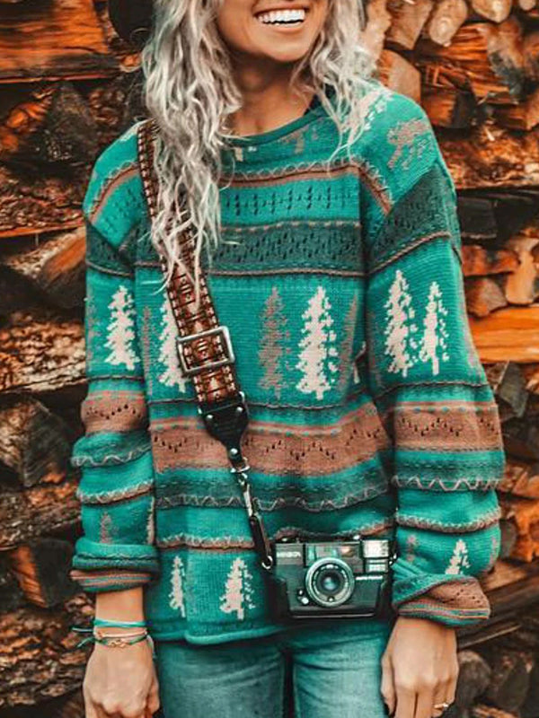 Casual Round Neck Christmas Print Pullover Sweater - Luckinchic