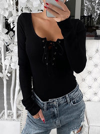 Casual Square Neck Solid Color Lace-up Long Sleeve Top - Luckinchic