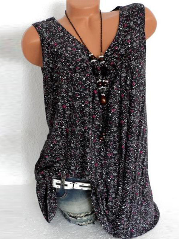 Print Floral Sleeveless V Neck Casual Blouse - LuckinChic.com