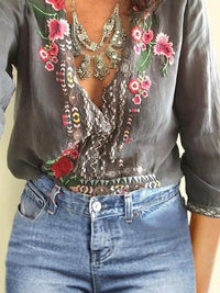 Embroidered Bohemian Floral Casual V-Neckline 3/4 Sleeves Peasant Blouses