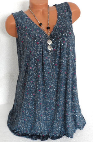 Clearance - Print Floral Sleeveless V Neck Casual Blouse - Luckinchic - LuckinChic.com