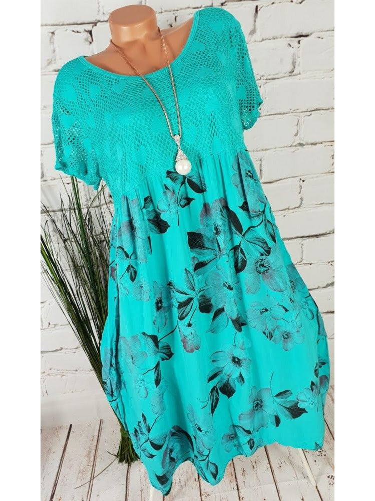 Floral Short Sleeve Summer Beach Midi Dress