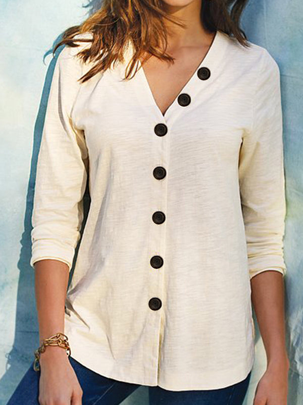 Casual V Neck Cardigan Button Solid Color Long Sleeve T-Shirt Top - Luckinchic
