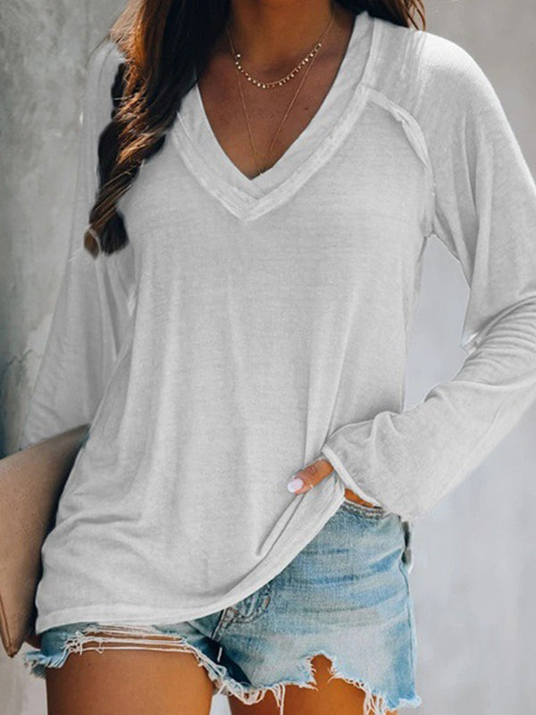Casual Long Sleeve Pullover Deep V Neck Solid Color T-Shirt Top - Luckinchic