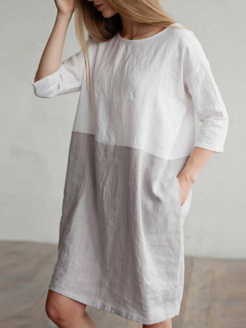 3/4 Sleeve Pockets Shift Plus Size Dress
