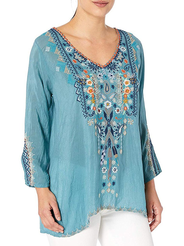 Bohemian Embroidered V-Neck Long Sleeve Blouse
