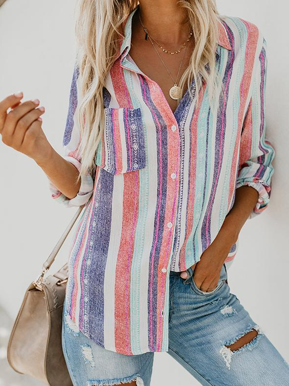 Rainbow Striped Button Down Blouse - Luckinchic - LuckinChic.com