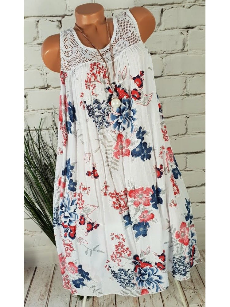 Floral Sleeveless Lace Summer Beach Midi Dress