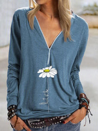 Casual V Neck Daisy Print Long Sleeve T-Shirt Top - Luckinchic
