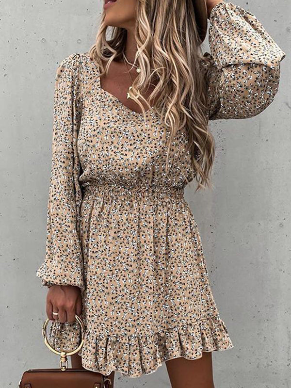 Long Sleeve Elastic Waist Ruffle Print Dress - Luckinchic