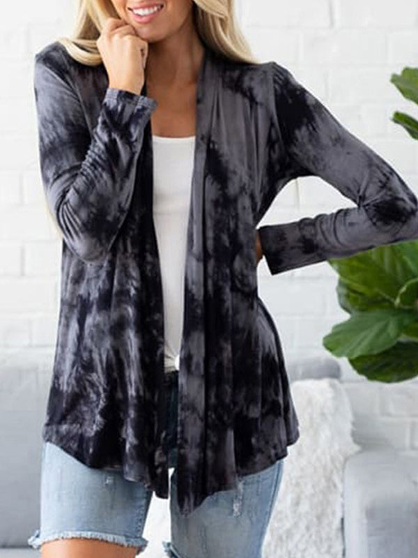 Casual Long Sleeve Tie Dye Print T-Shirt Cardigan Top - Luckinchic