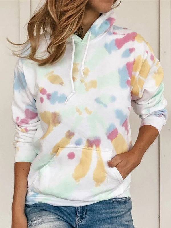 Casual Long Sleeve Loose Printed With Pockets Hoodie - Luckinchic