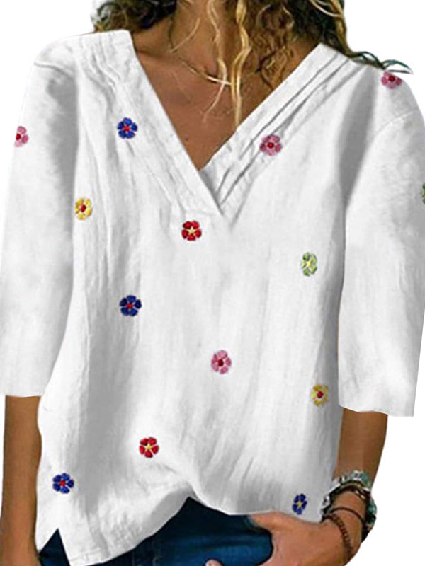 Casual V Neck Embroidered Fashion 3/4 Sleeve T-Shirt Top- Luckinchic