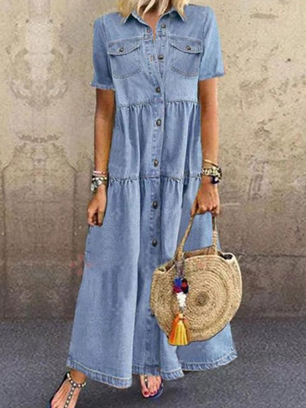 Casual Collared Denim Short Sleeve Button Pocket A Line Long Dress - Luckinchic