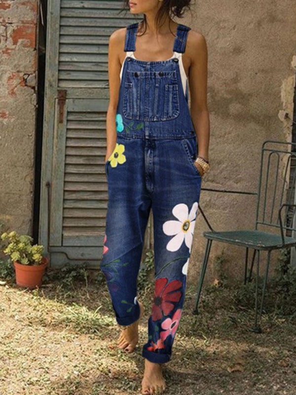 Casual Flower Printed Washed Denim Overalls Trousers - Luckinchic