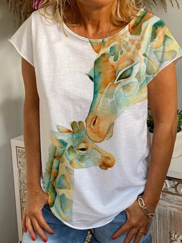 Casual Round Neck Animal Printed Short Sleeve T-Shirt - Luckinchic