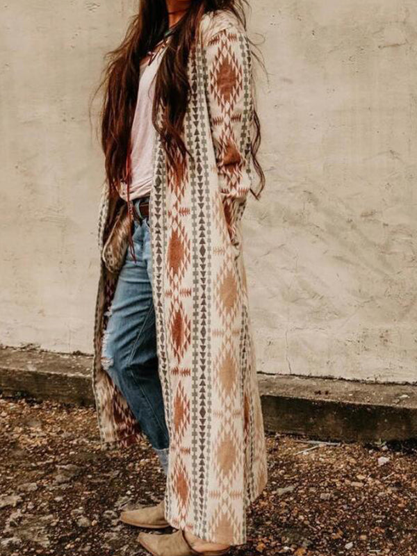 Casual Printed Long Knitted Coat - Luckinchic