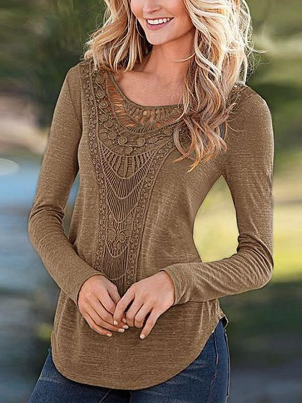 Fashion Long Sleeve Casual Lace Tops T Shirt