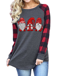 Casual Round Neck Santa Pattern Print Long Sleeve T-Shirt Top - Luckinchic