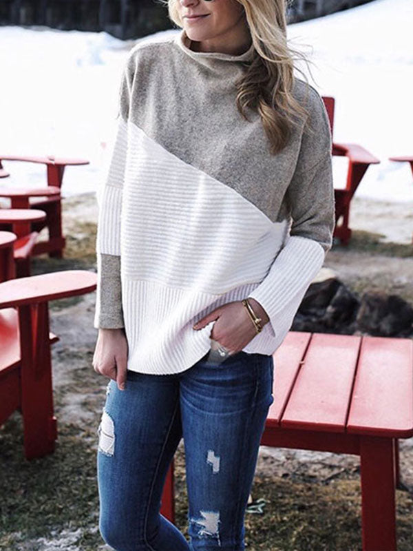 Clearance - Casual Patchwork Turtleneck Long Sleeve Sweater - Luckinchic - LuckinChic.com