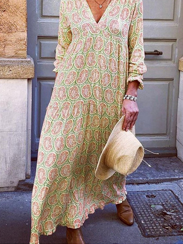 Summer Casual  V Neck Long Sleeve Printed Flowy Maxi Dress - Luckinchic