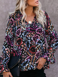 Casual V Neck Loose Printed Long Sleeve Shirt - Luckinchic
