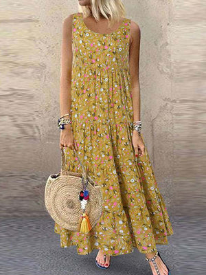 Casual Plus Size Sleeveless Bohemian Floral Print  Long Maxi Beach Swing Dress - Luckinchic