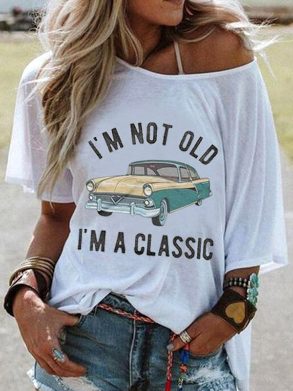 Casual Round Neck Letters Car Print Short Sleeve T-Shirt - Luckinchic