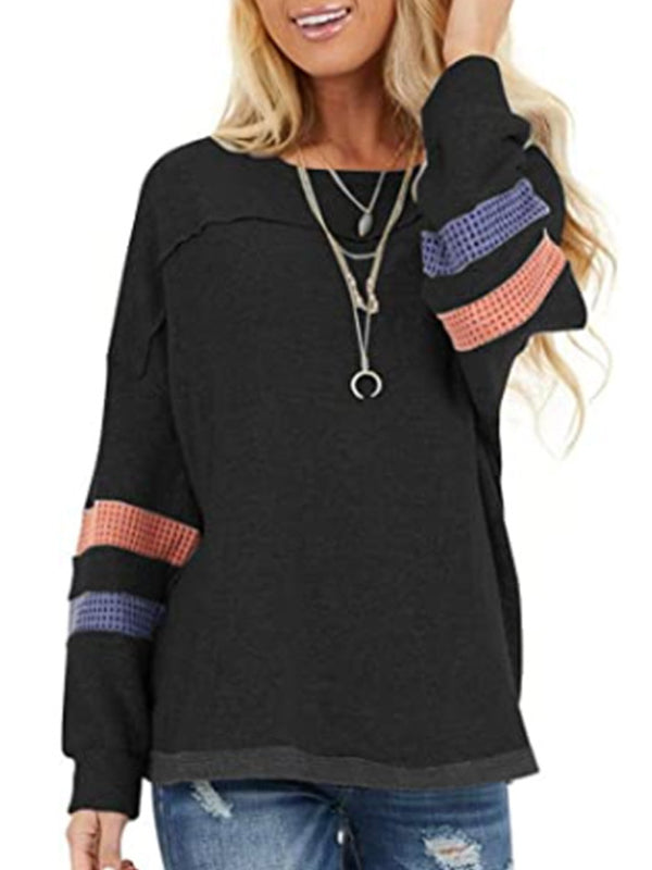 Casual Crew Neck Long Sleeve Patchwork T-Shirt Top - Luckinchic