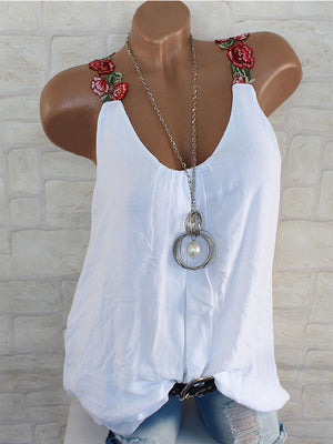 Clearance - Spaghetti Strap Round Neck Embroidered Floral Vest - Luckinchic - LuckinChic.com