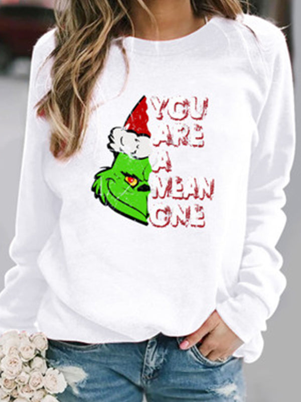 Casual Round Neck Christmas Graphic Print Long Sleeve Sweatshirt Top - Luckinchic